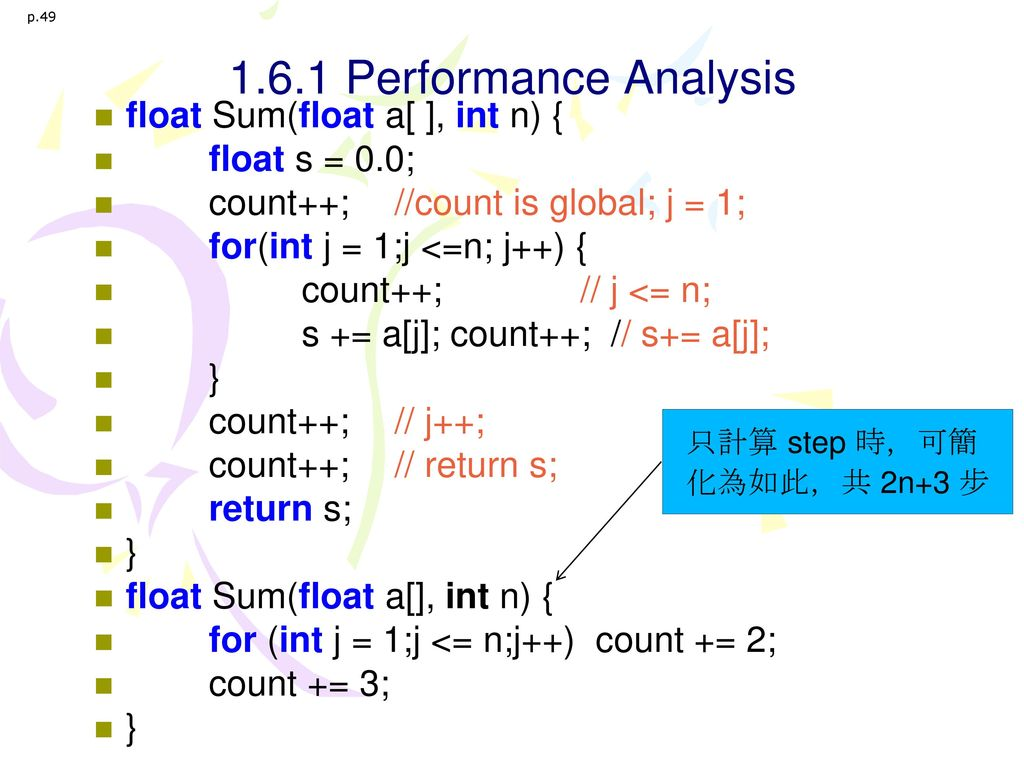 1.6.1 Performance Analysis float Sum(float a[ ], int n) {